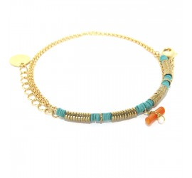Bracelet pierres semi précieuses BR2 RECIF orange-turquoise