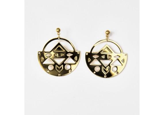 Boucles d'oreilles BO2 Abraxas Yucatan dorées à l'or fin