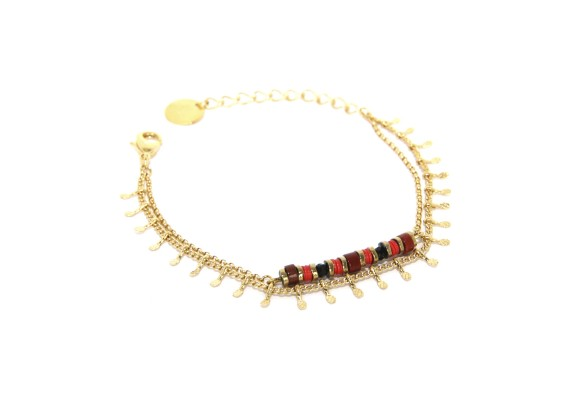 Bracelet plaqué or femme ocre et rouge